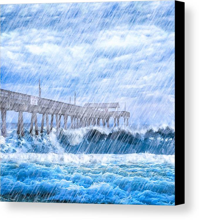 Tybee Island Canvas Print featuring the photograph Storm Over The Sea - Tybee Pier by Mark E Tisdale