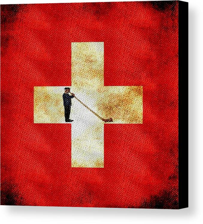 Swiss Canvas Print featuring the painting Swiss Alpine by Jared Johnson