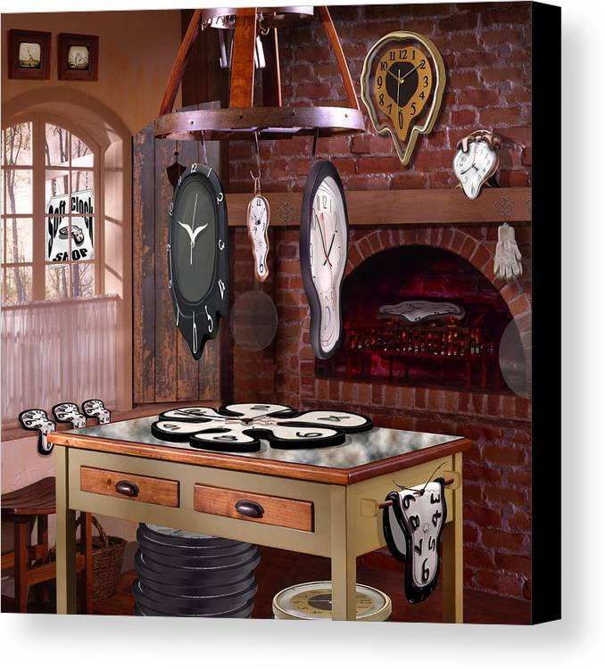 Surrealism Canvas Print featuring the photograph The Soft Clock Shop 3 by Mike McGlothlen
