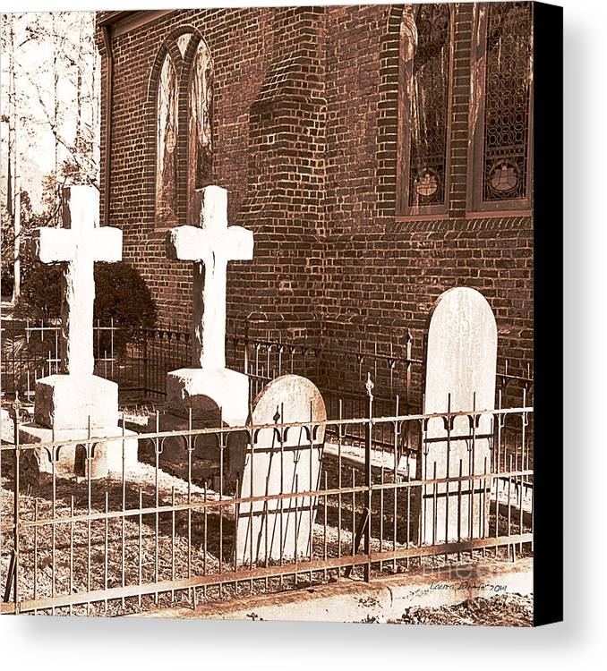Saint Lukes Church Canvas Print featuring the photograph Two Crosses In Saint Lukes by Artist and Photographer Laura Wrede