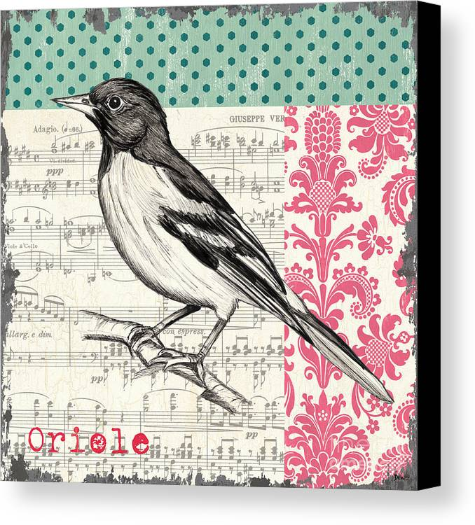 Bird Canvas Print featuring the painting Vintage Songbird 2 by Debbie DeWitt