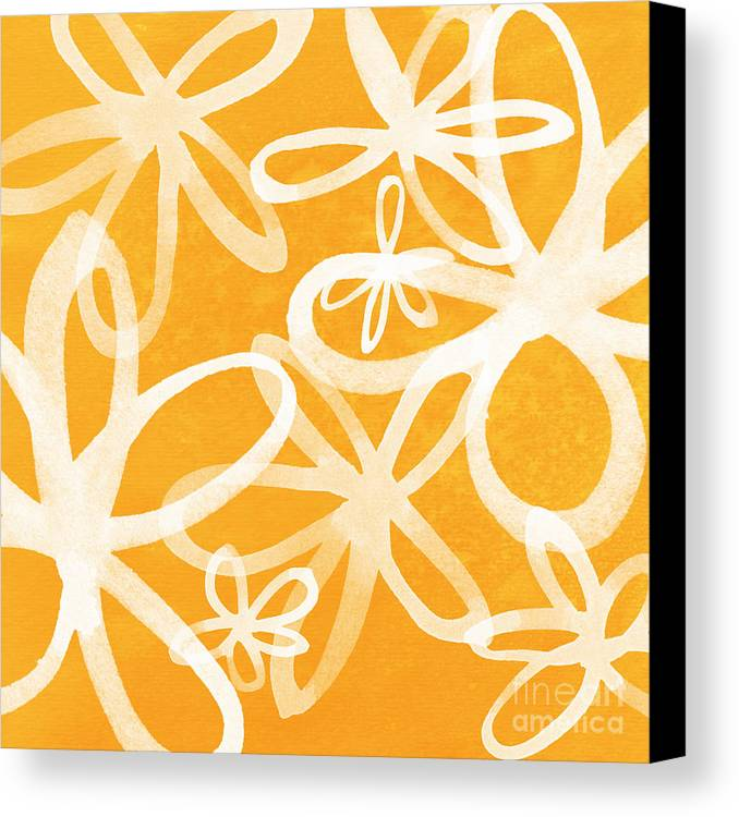 Large Abstract Floral Painting Canvas Print featuring the painting Waterflowers- Orange And White by Linda Woods