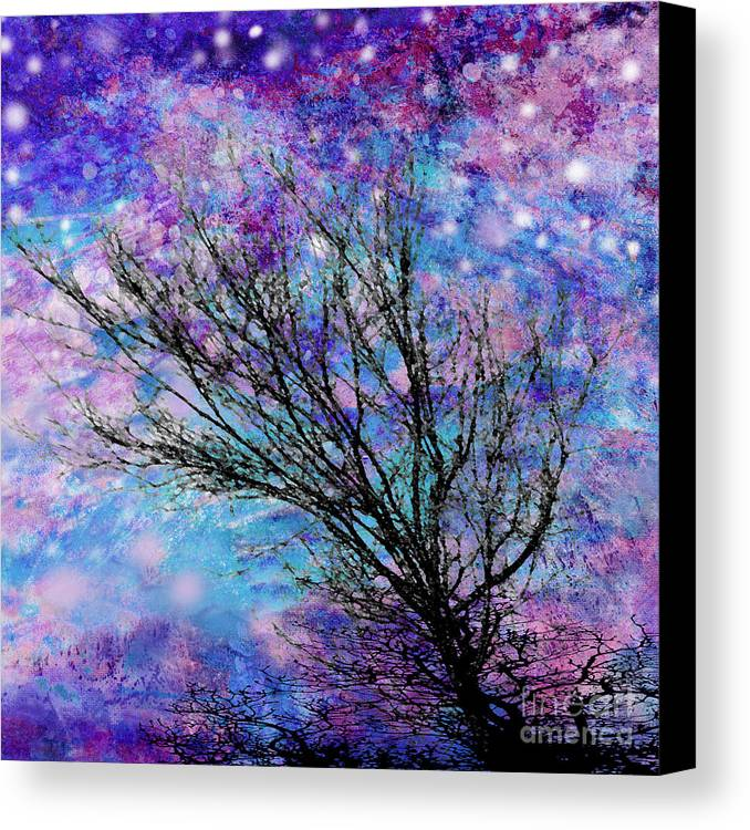 Starry Canvas Print featuring the digital art Winter Starry Night Square by Ann Powell
