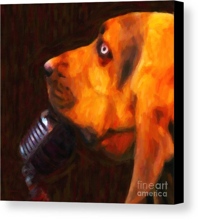 Animal Canvas Print featuring the photograph You Ain't Nothing But A Hound Dog - Dark - Painterly by Wingsdomain Art and Photography