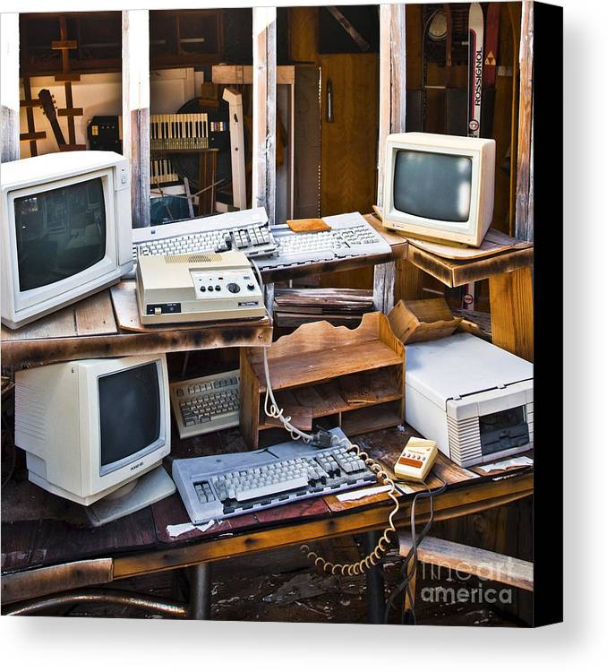 Abandoned Canvas Print featuring the photograph Old Computers In Storage by Eddy Joaquim