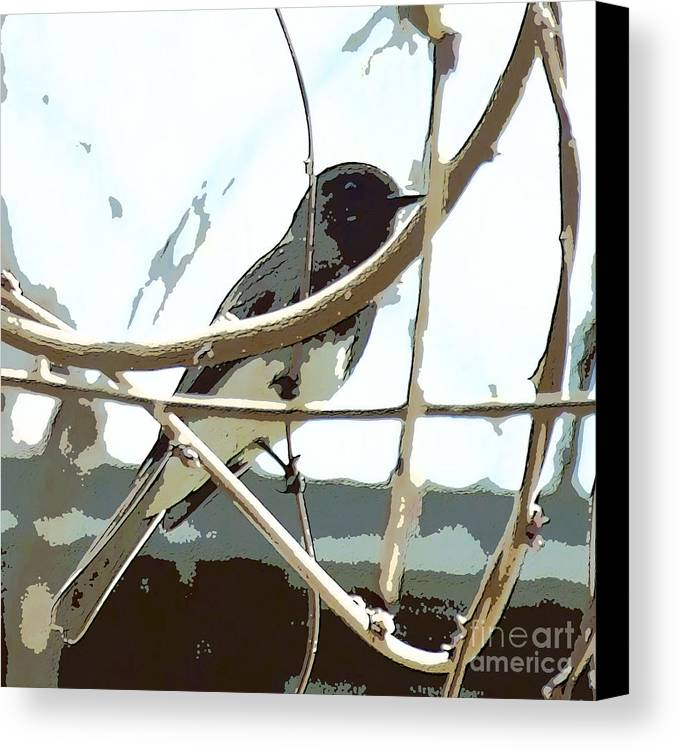 Bird On A Vine In The Winter Canvas Print featuring the digital art Winter Bird by Artist and Photographer Laura Wrede