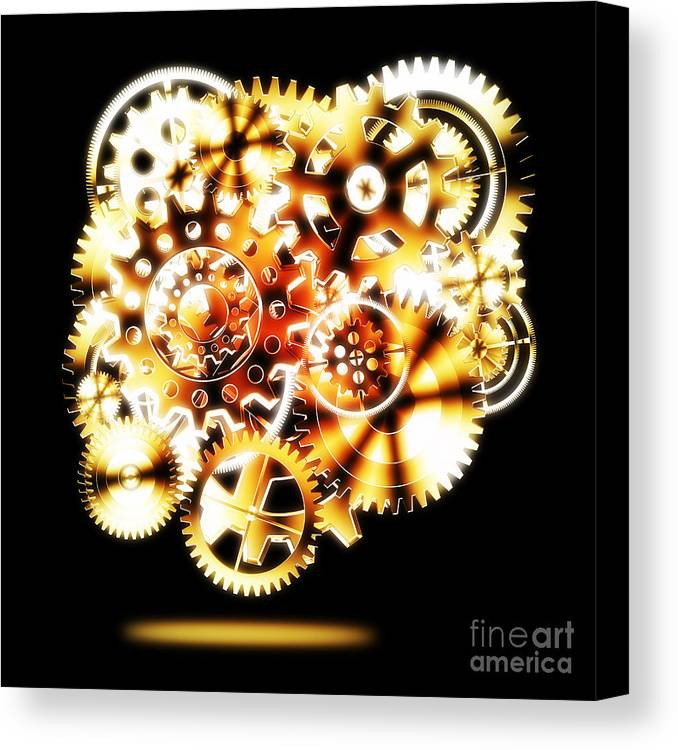 Art Canvas Print featuring the photograph Gears Wheels Design by Setsiri Silapasuwanchai