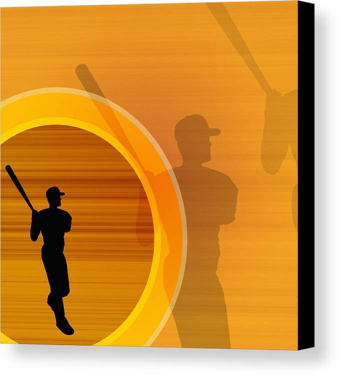 Adults Only Canvas Print featuring the digital art Baseball Player About To Swing, Silhouette (digital) by Chad Baker
