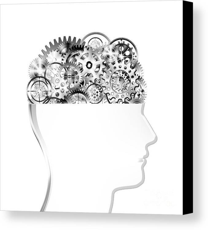 Art Canvas Print featuring the photograph Brain Design By Cogs And Gears by Setsiri Silapasuwanchai