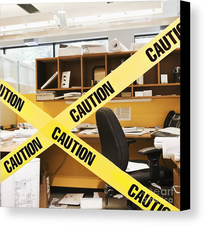 Architecture Canvas Print featuring the photograph Caution Tape Blocking A Cubicle Entrance by Jetta Productions, Inc
