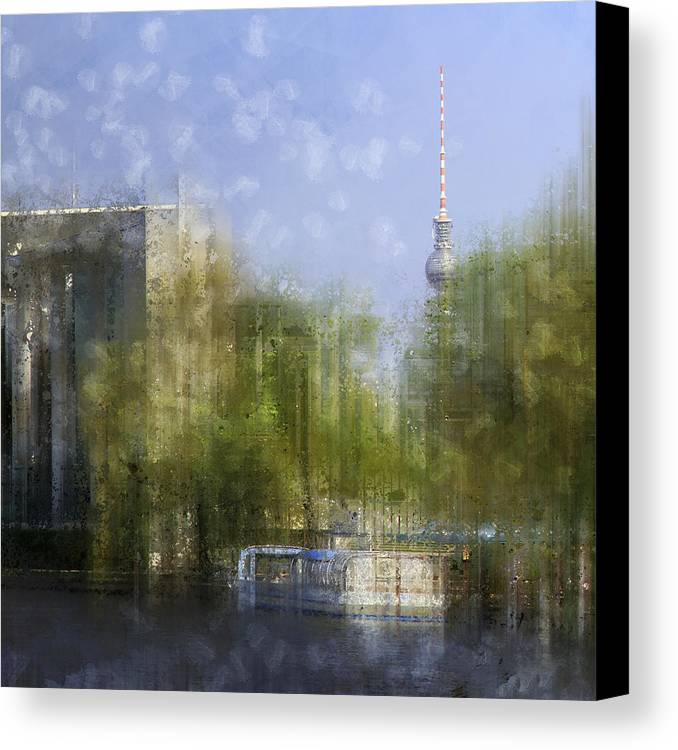 Square Canvas Print featuring the photograph City-art Berlin River Spree by Melanie Viola