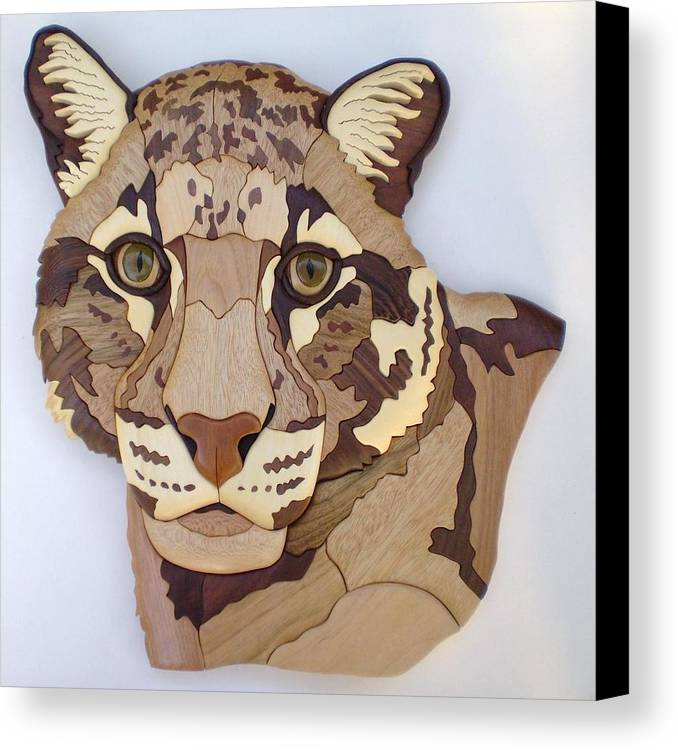 Clouded Leopard Canvas Print featuring the sculpture Clouded Leopard by Annja Starrett