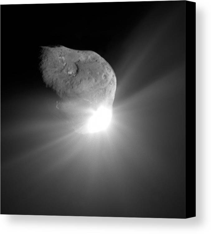 Tempel 1 Canvas Print featuring the photograph Deep Impact Comet Strike by Nasa