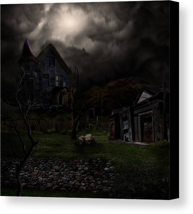 House Canvas Print featuring the digital art Haunted House by Lisa Evans