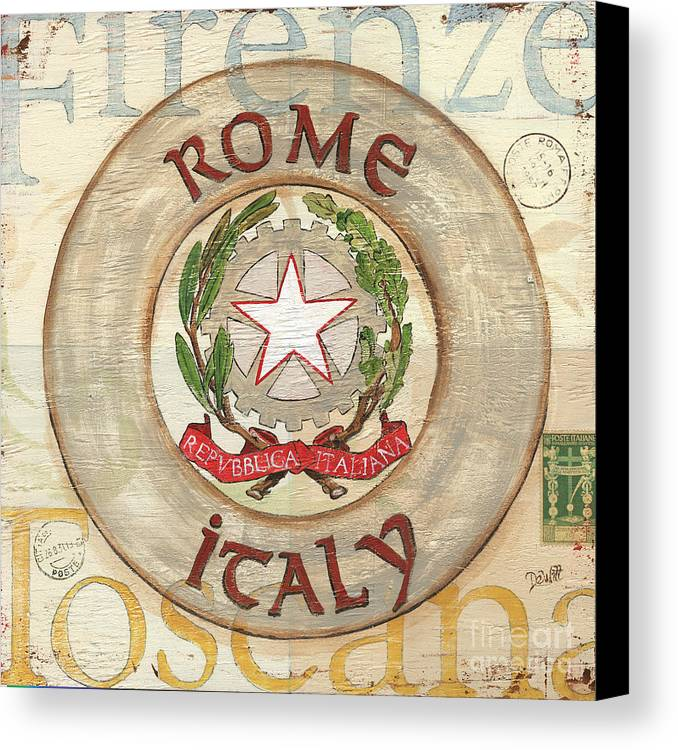 Rome Canvas Print featuring the painting Italian Coat Of Arms by Debbie DeWitt