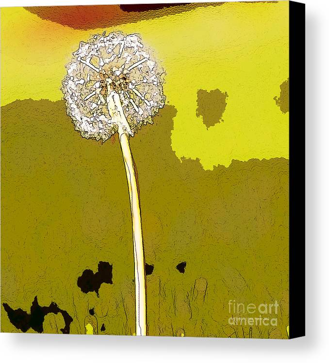 Dandelion Canvas Print featuring the painting One Day Your Wish Will Come True by Artist and Photographer Laura Wrede