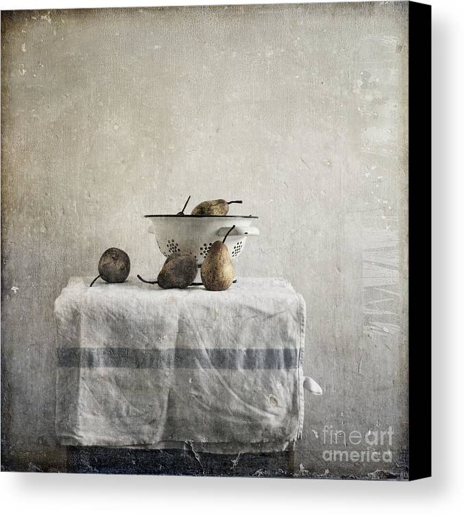 Pears Under Grunge Textures Canvas Print featuring the photograph Pears Under Grunge by Paul Grand