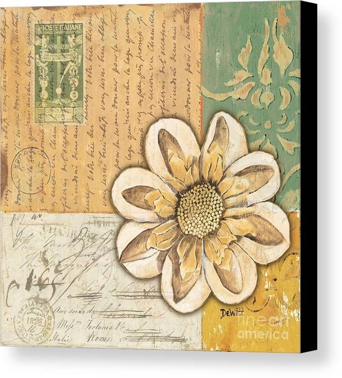 Flower Canvas Print featuring the painting Shabby Chic Floral 2 by Debbie DeWitt