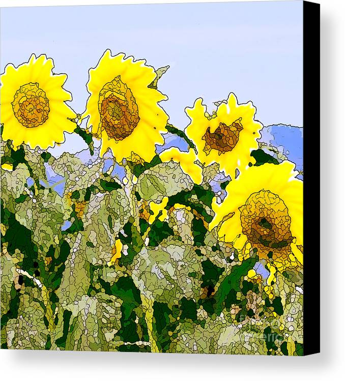 Sunflowers Canvas Print featuring the painting Sunflowers Sunbathing by Artist and Photographer Laura Wrede