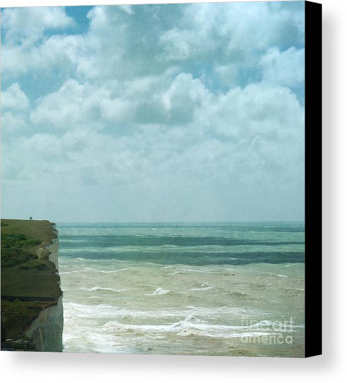 Waves Below Us Cliffs Channel Sea England South Coast Chalk Textures Flypaper Classic Defence Romance Isolation Fresh Private English Britain Uk Europe Canvas Print featuring the photograph The Waves Bellow Us by Paul Grand