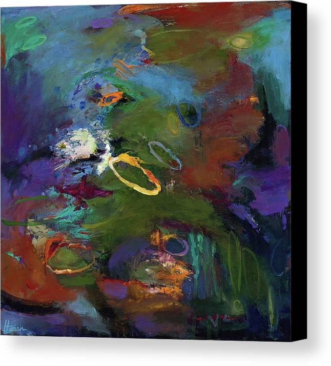 Abstract Expressionistic Canvas Print featuring the painting Late Last Night by Johnathan Harris