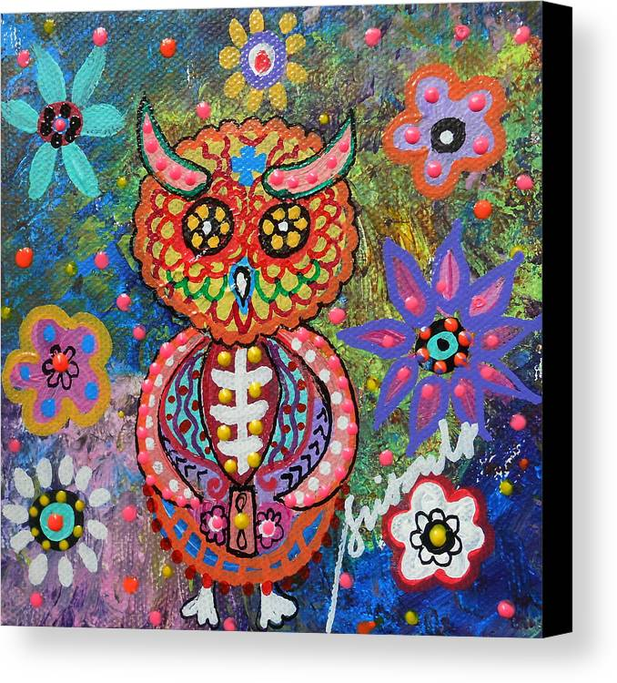 Owl Canvas Print featuring the painting Owl Day Of The Dead by Pristine Cartera Turkus