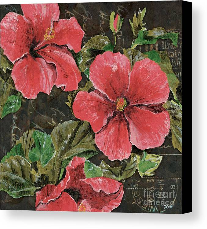 Floral Canvas Print featuring the painting Antique Hibiscus Black 2 by Debbie DeWitt