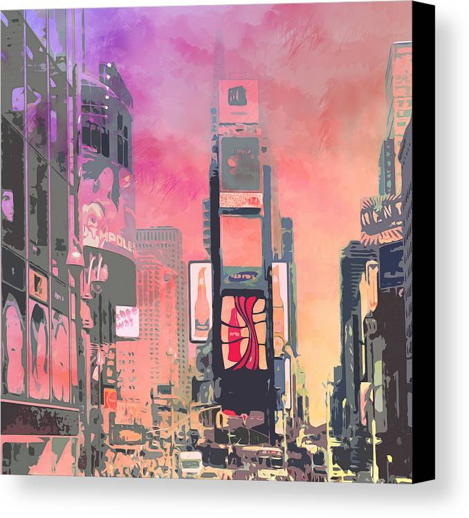 Usa Canvas Print featuring the digital art City-art Ny Times Square by Melanie Viola