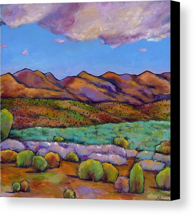 Southwest Landscape Canvas Print featuring the painting Cloud Cover by Johnathan Harris