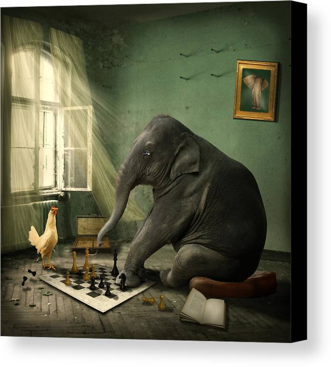 Elephant Canvas Print featuring the photograph Elephant Chess by Ethiriel Photography