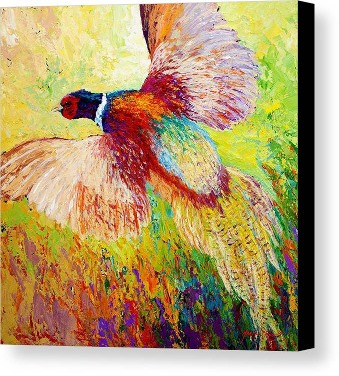 Pheasant Canvas Print featuring the painting Flushed - Pheasant by Marion Rose