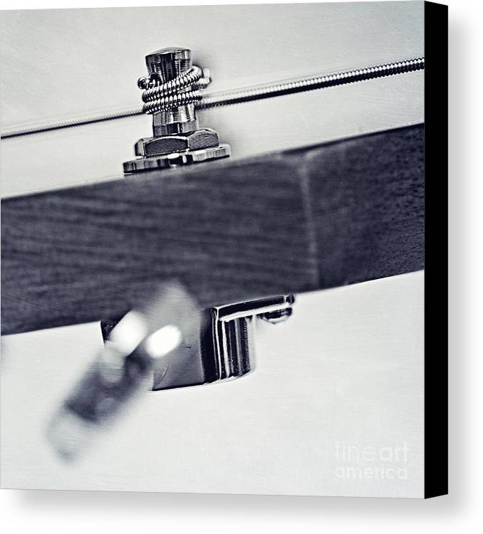 Black Canvas Print featuring the photograph guitar V by Priska Wettstein
