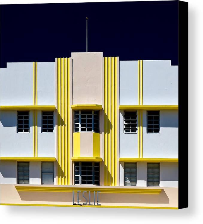 Leslie Canvas Print featuring the photograph Leslie Hotel by Dave Bowman