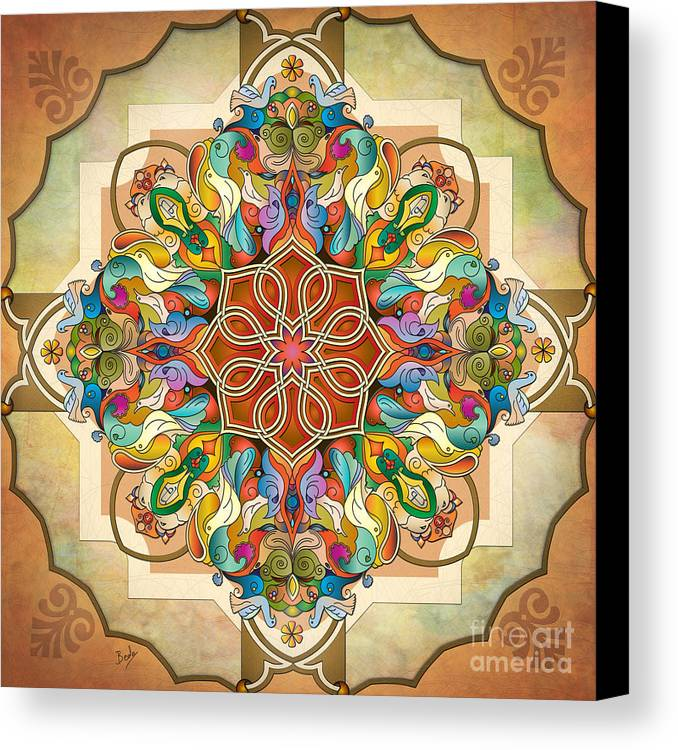Mandala Canvas Print featuring the digital art Mandala Birds by Bedros Awak