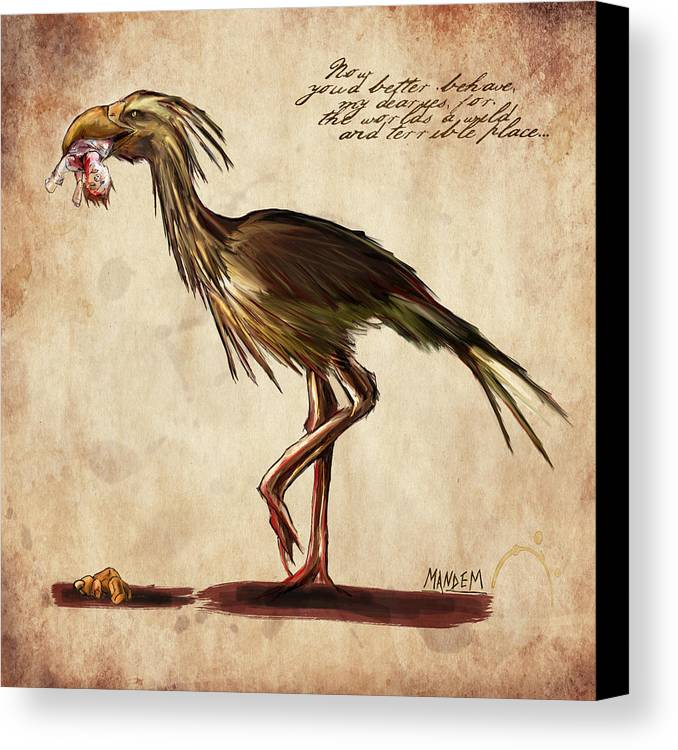 Fantasy Canvas Print featuring the drawing Never Bird by Mandem