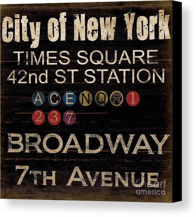 New York Canvas Print featuring the mixed media New York Subway by Grace Pullen
