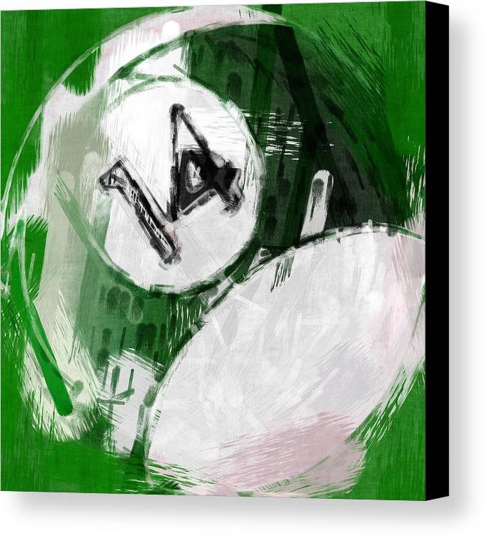14 Canvas Print featuring the photograph Number Fourteen Billiards Ball Abstract by David G Paul