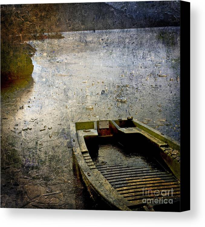 Bail Out Canvas Print featuring the photograph Old Sunken Boat. by Bernard Jaubert