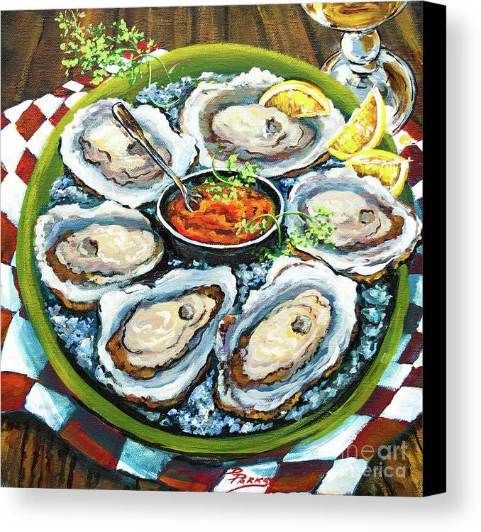Oysters Canvas Print featuring the painting Oysters On The Half Shell by Dianne Parks