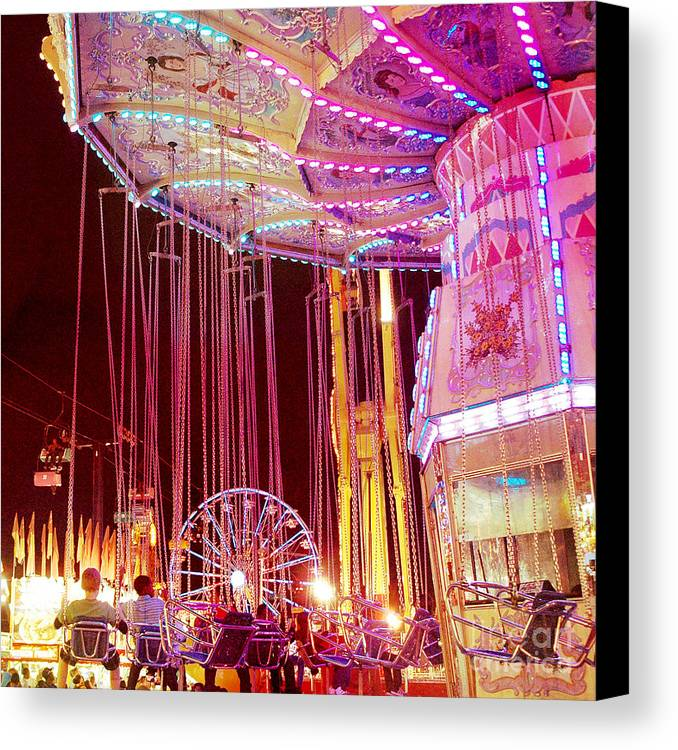 Hot Pink Ferris Wheel Photos Canvas Print featuring the photograph Pink Carnival Festival Ferris Wheel Night Ride by Kathy Fornal