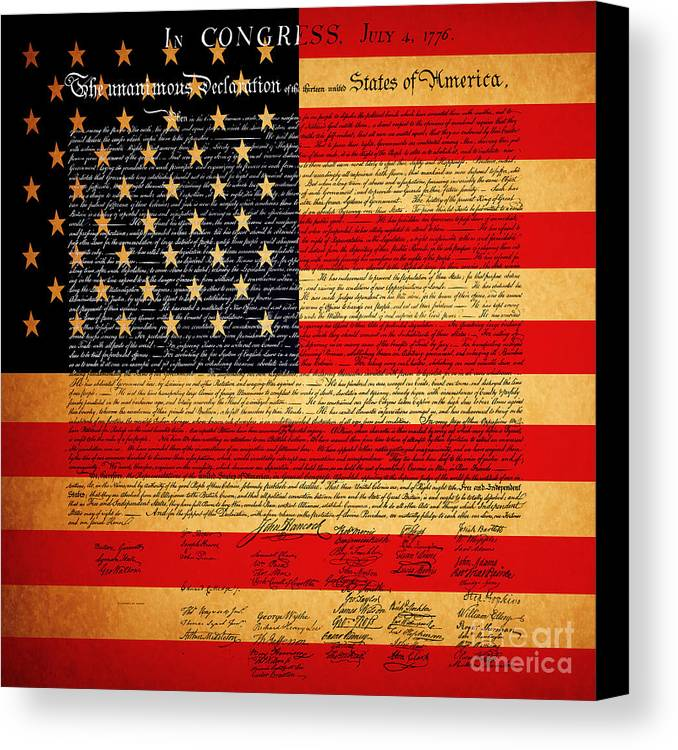 Usa Canvas Print featuring the photograph The United States Declaration Of Independence - American Flag - Square by Wingsdomain Art and Photography