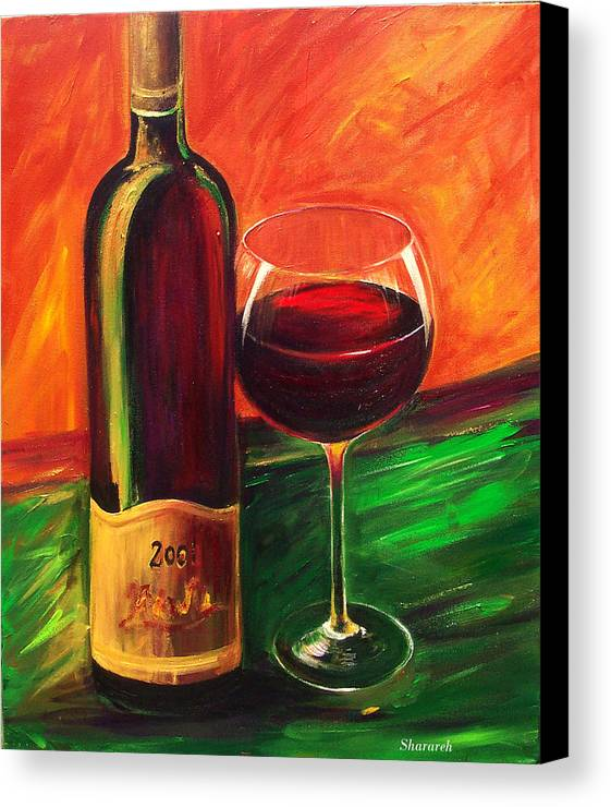 Wine Art Painting Canvas Print featuring the painting Simple Pleasures by Sheri Chakamian