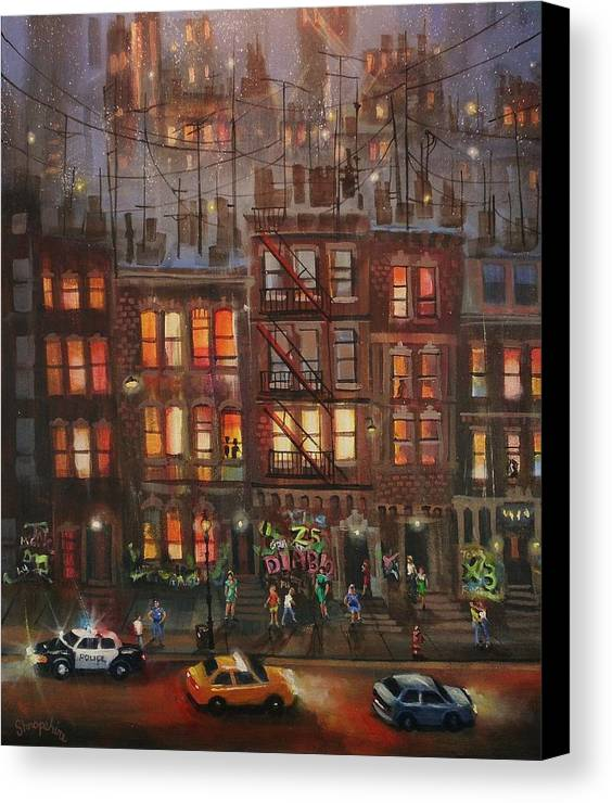Brownstone Canvas Print featuring the painting Street Life by Tom Shropshire