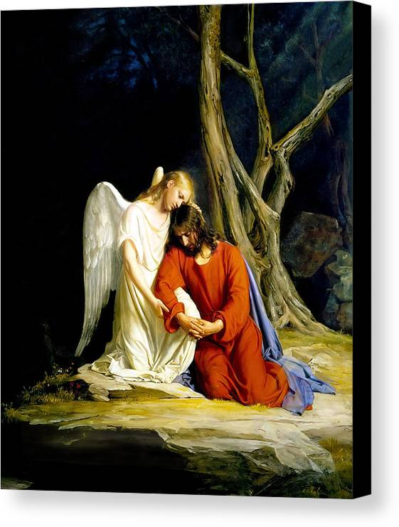 Carl Bloch Canvas Print featuring the painting Gethsemane by Carl Bloch