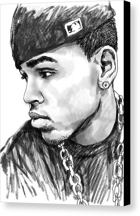 Chris Brown Art Drawing Sketch Portrait Canvas Print featuring the drawing Chris Brown Art Drawing Sketch Portrait by Kim Wang