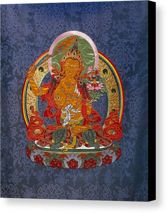 Manjushri Canvas Print featuring the tapestry - textile Manjushri by Leslie Rinchen-Wongmo