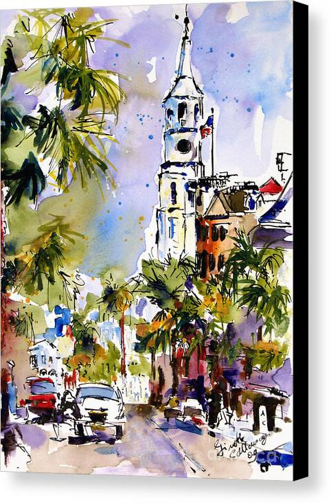 Charleston Canvas Print featuring the painting St Michael's Church Charleston South Carolina by Ginette Callaway