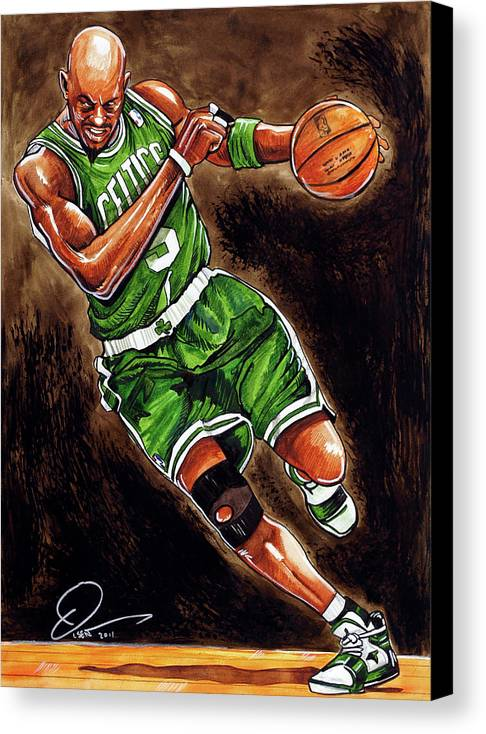 Kevin Garnett Canvas Print featuring the painting Kevin Garnett by Dave Olsen