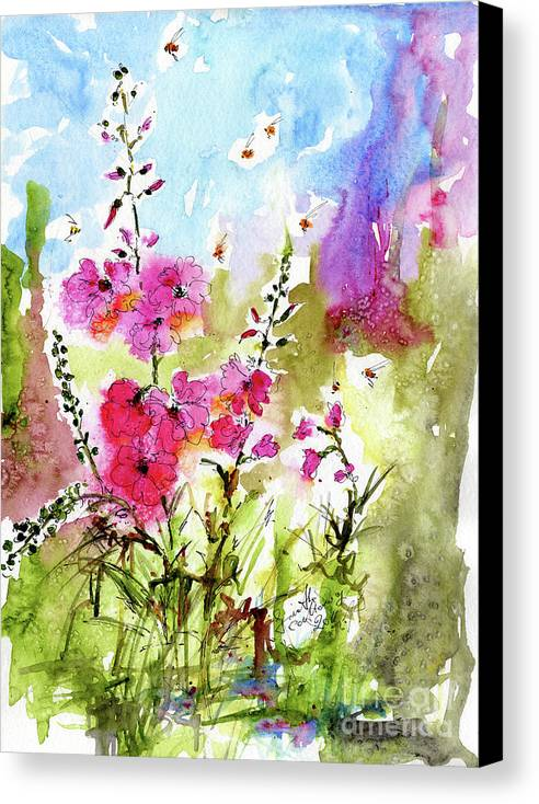 Flowers Canvas Print featuring the painting Pink Lavatera Watercolor Painting By Ginette by Ginette Callaway