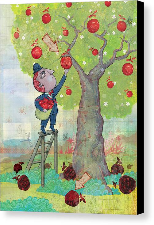 Apples Canvas Print featuring the digital art Bad Apples Good Apples by Dennis Wunsch